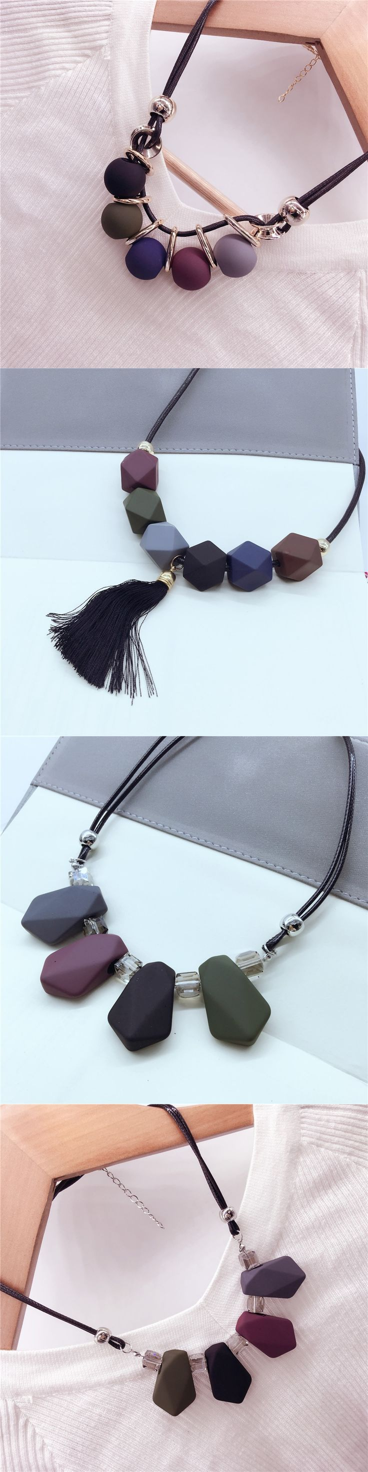 Free shipping woodimitation diomands exaggeration tassel choker luxury crystal resin geometry chain necklace elegant jewelry