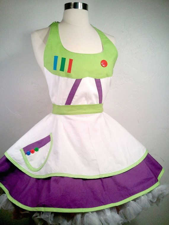 To Infinity and Beyond in our Buzz Lightyear inspired SassyFras Character apron! A customer challenged me to make a female version of Buzzs