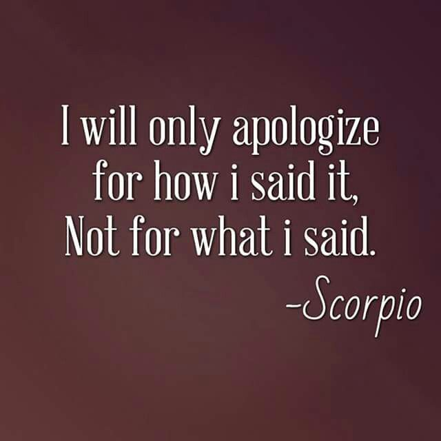 """I will only apologise for how I said it..."" ;) Haha, this is so true! I do exactly this all the time!"