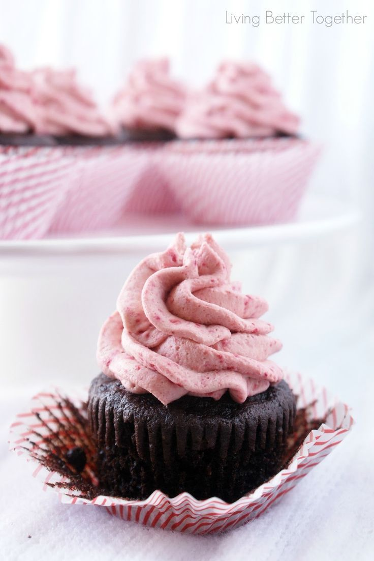 Dark Chocolate Cupcakes with Raspberry Vanilla Creme