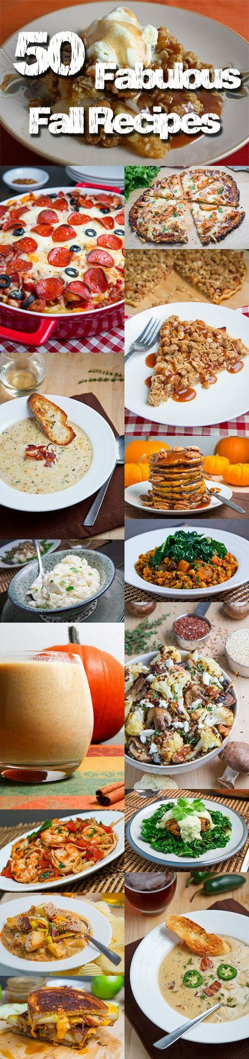 50 Fabulous Fall Recipes... Cooling weather  opens up new opportunities like using the oven for things like casseroles and roasts which may have been taboo during hot summer days. Of course as the weather gets even cooler soups and stews make a more prominent appearance on the table! Here I have gathered up 50 of my favorite fall recipes for your inspiration and enjoyment over the coming days!