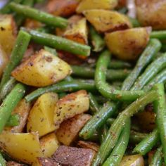 Pan Fried Potatoes and Green Beans Recipe Side Dishes with green beans, gold…
