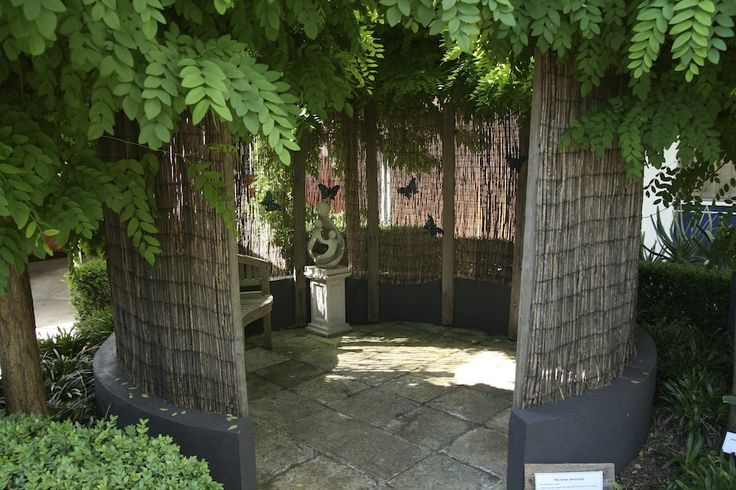 The Inner Sanctuary, sheltered by mop top robinia. Steven Wells garden at Royal Talbot Rehabilitation Hospital, Melbourne