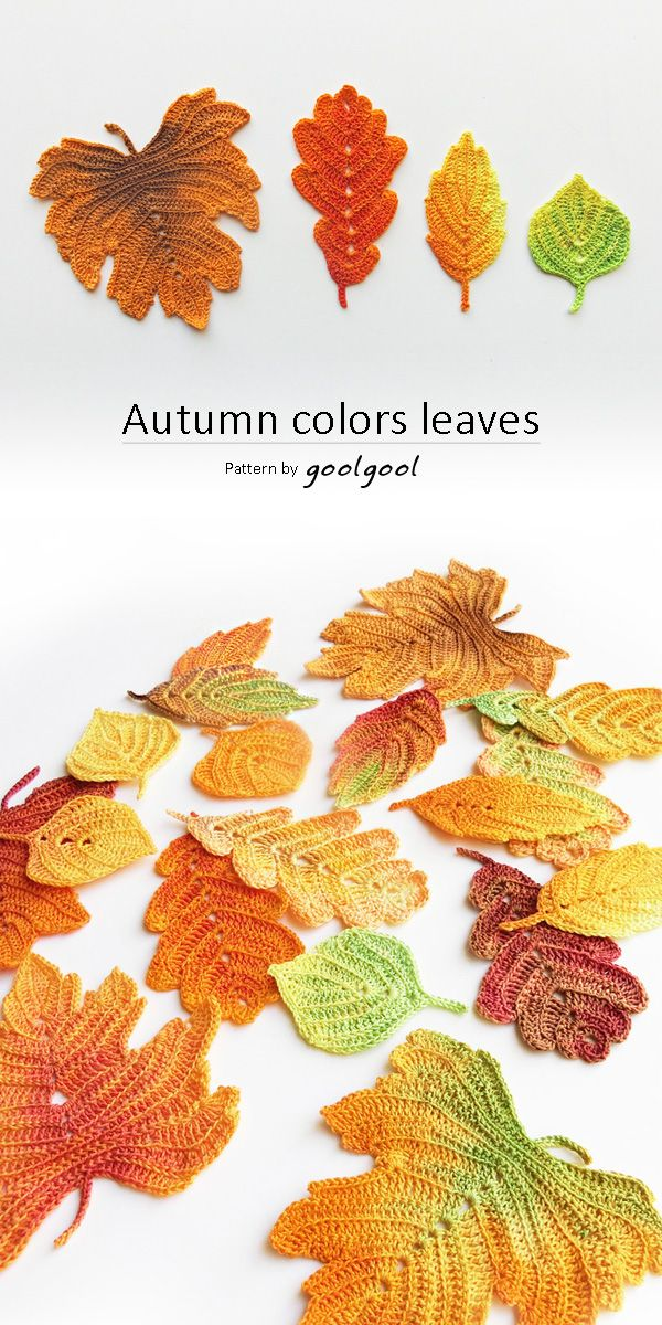 A detailed photo tutorial for 4 crochet autumn leaves: Aspen, Generic, Oak and Vine. Crocheted with an all white thread, and colored after they are finished using fabric dye. This allows for endless color combinations. Once colored, these crochet leaves can almost look real... Decorate your thanksgiving table with scattered leaves, make a wreath of autumn leaves, use them as decor at your fall wedding:)