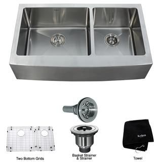 "Check out the Kraus KHF203-36 36"" Farmhouse 60/40 Double Bowl 16 Gauge Stainless Steel Kitchen Sink priced at $479.95 at Homeclick.com."