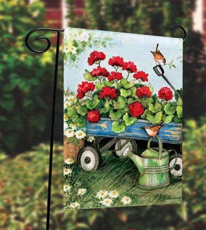 Garden Flag Stand with Geraniums by The Dozen Flag