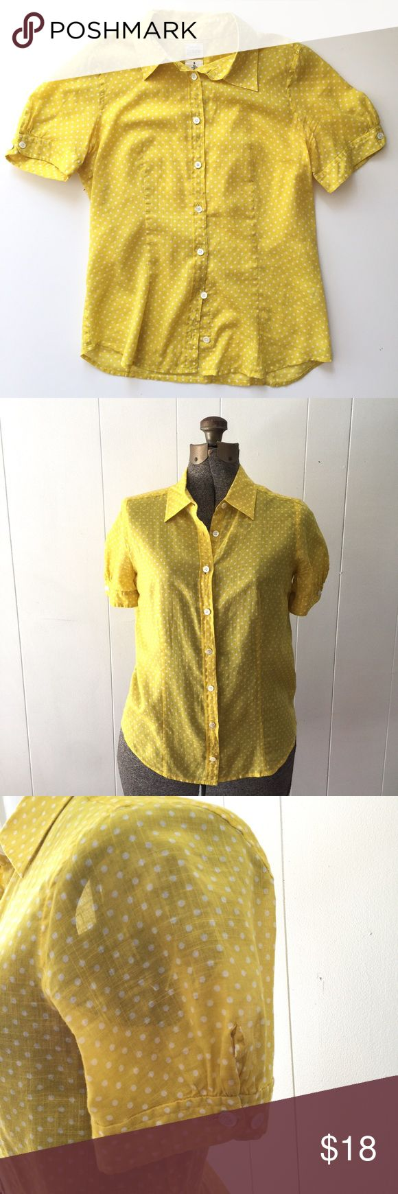 "J. Crew Yellow Polka Dot Washed Shirt // Size 4 Adorable J. Crew yellow polka dot short sleeve blouse. Very good condition. 90% cotton, 10% ramie. Size 4. 23 1/2"" shoulder to bottom hem. 16 1/2"" underarm to underarm. J. Crew Tops Blouses"