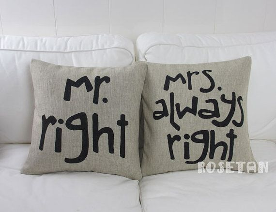 1 pair linen black lover present Mr RIGHT & Mrs always by rosetan, $28.00