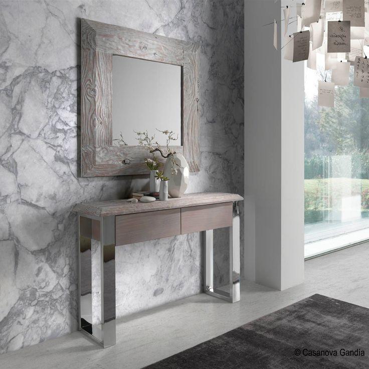 Conjunto recibidor de inspiración mediterránea en madera combinada con metal para interiores modernos. http://www.casanova-gandia.com/muebles/consolas.aspx