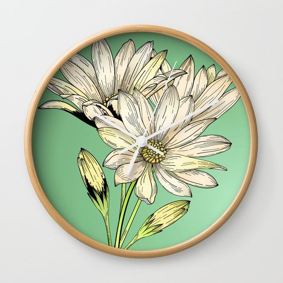 Daisy Flowers - Wild Flowers - Nature Wall Clock by Salome | Society6