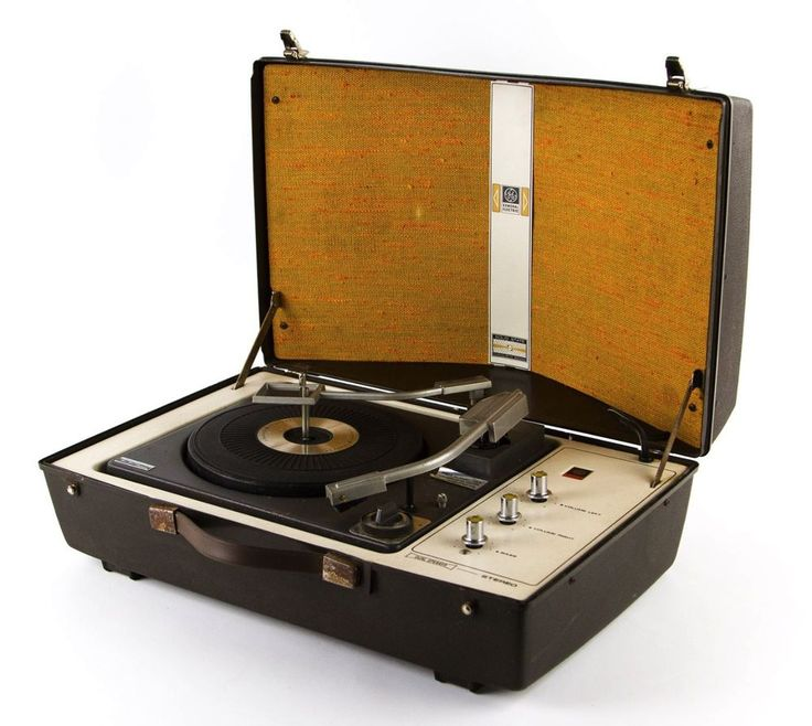 RARE GE V861 PORTABLE RECORD PLAYER w/ AMP & SPEAKERS 50s 60s MID CENTURY MODERN #GE #Stereo #vintage