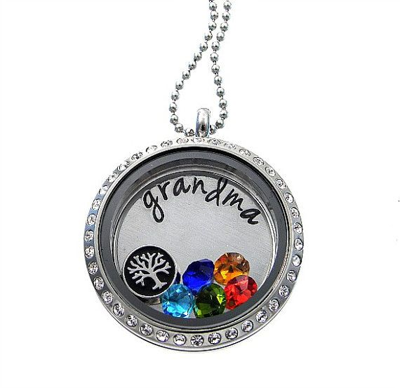 Grandmother Necklace / Tree of Life / Floating Memory Locket / Hand Stamped Jewelry By Silver Impressions