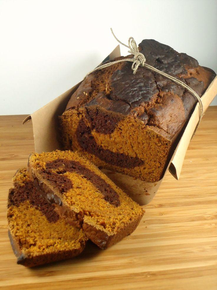 Vegan pumpkin chocolate swirl bread
