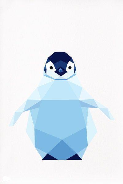 Baby Penguin Emperor Penguin Geometric by tinykiwiprints on Etsy