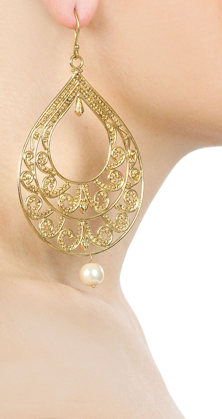 Gold pear shaped filigree earrings available only at Pernia's Pop-Up Shop.