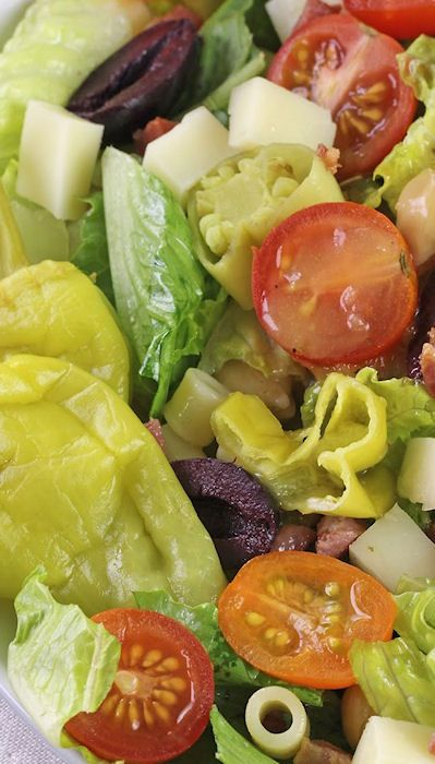 Italian Chopped Salad Recipe ~ A colorful and flavorful salad with a homemade Italian dressing