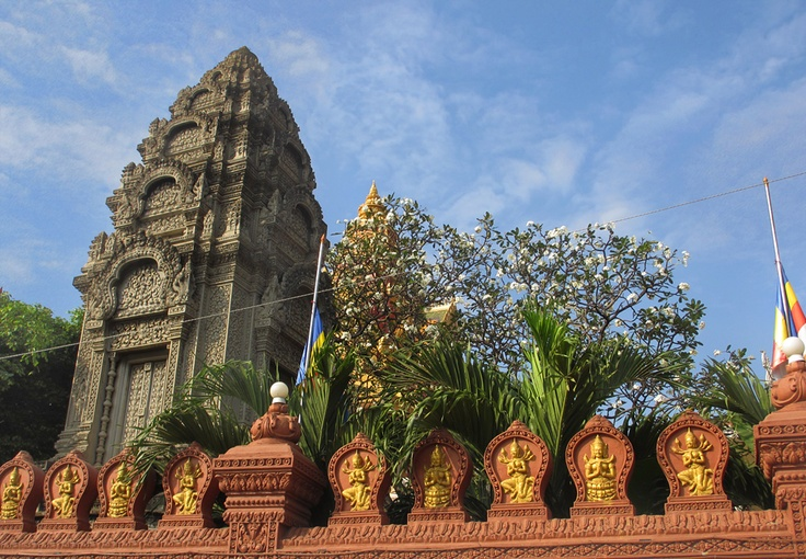 A Stupa at Wat Ounalom in Phnom Penh: A stupa is a symbol of enlightenment and is one of the most ancient icons of Buddhist art. Stupas are also the oldest and most prevalent forms of Buddhist architecture. More than just being examples of art and architecture, these holy monuments were designed with deep symbolism and sacred geometry. Filled with Buddhist relics, and other holy objects, stupas emanate blessings and peace.     Cambodia Hotels and Tours:  www.tropicalasiatravel.com