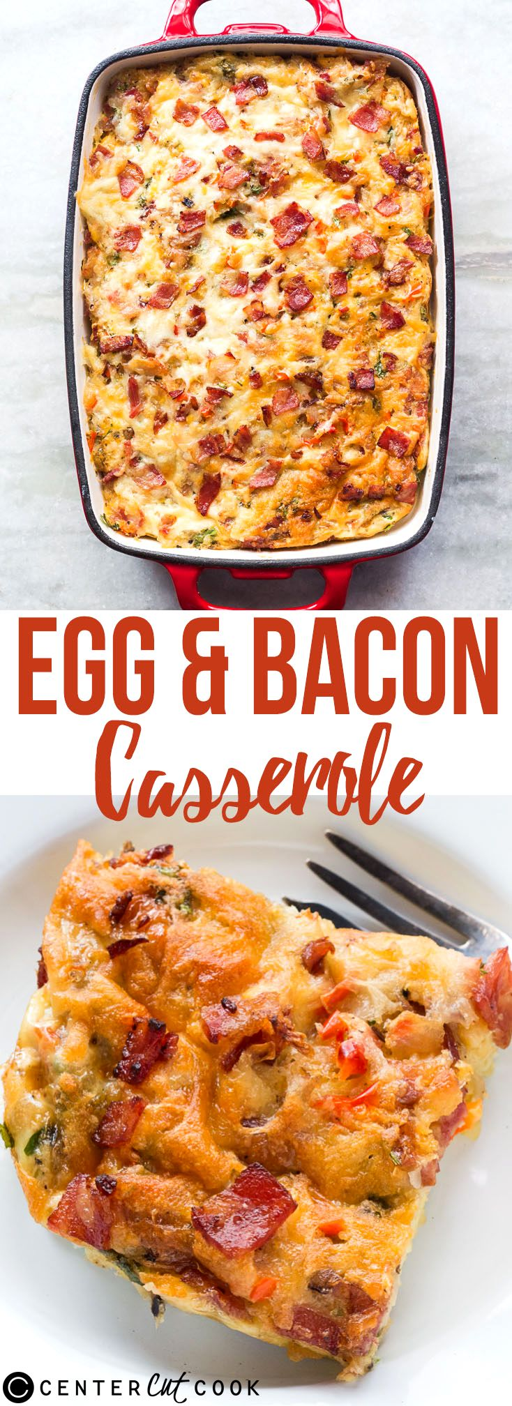 The only breakfast recipe you'll ever need when you are feeding a crowd. Super delicious, perfect for brunch egg and bacon breakfast casserole!