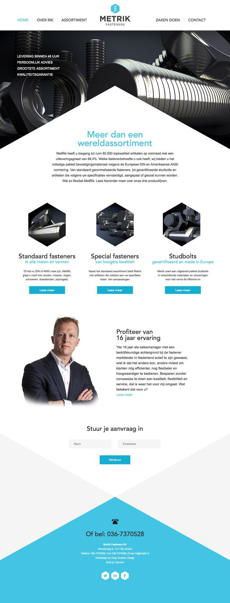 Webdesign hompage for Metrik Fasteners in The Netherlands.