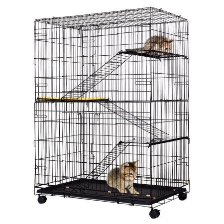 Free Shipping. Buy Costway 4-Tier Cat Playpen Cat Cage with 3 Climbing Ladders & 3 Rest Benches & Cushion at Walmart.com