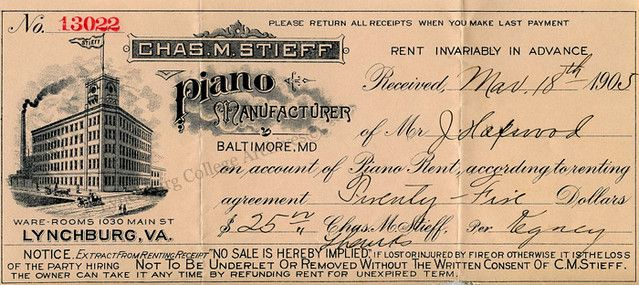 Reciept Chas M Stieff Manufacturer Of Grand Upright Pianos Upright Piano Piano Grands