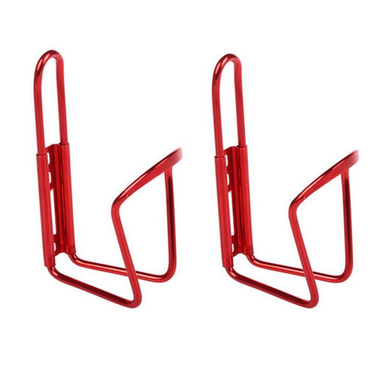 Set of 2 Aluminium Alloy Water Bottle Cages Bicycle Bottle Holder+2 Screw-Red