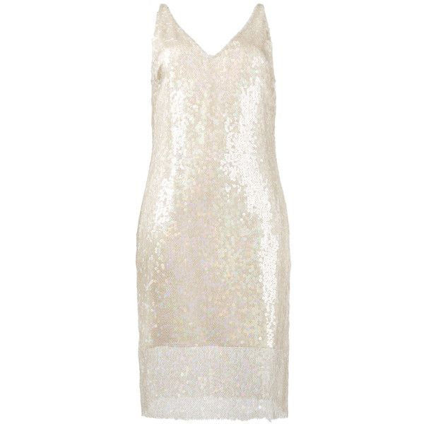 Haney Laura sequin embellished slip dress ($1,952) ❤ liked on Polyvore featuring dresses, ivory, sequin dress, slip dress, pink cocktail dress, winter white dress and sequin cocktail dresses