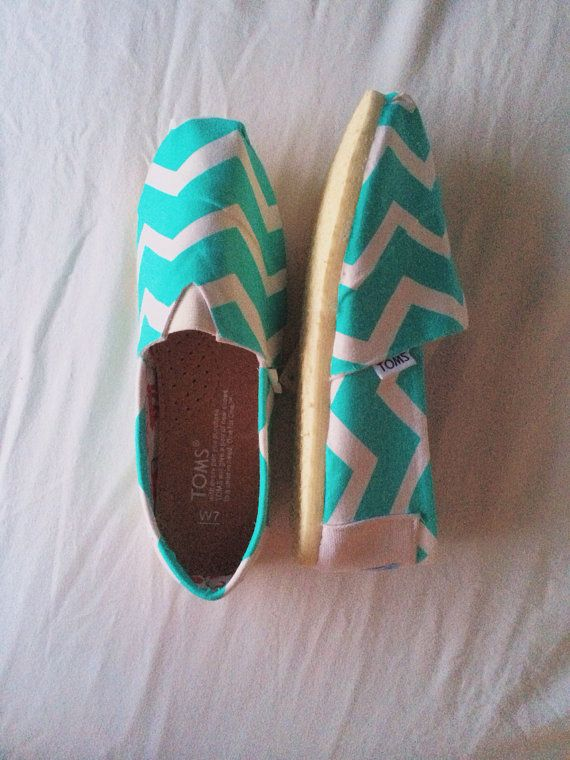 Mint Chevron Toms Women by ClarkCouturecom on Etsy, $70.00