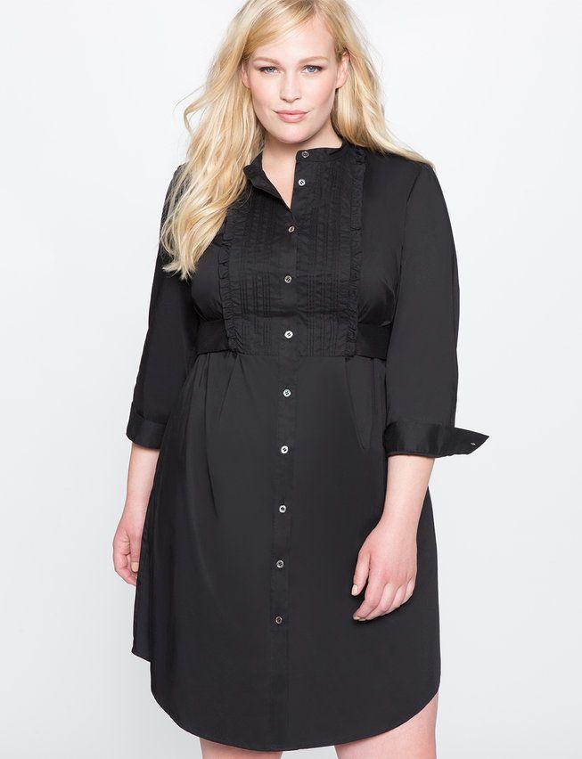 Plus Size Pintucked Bib Shirt Dress