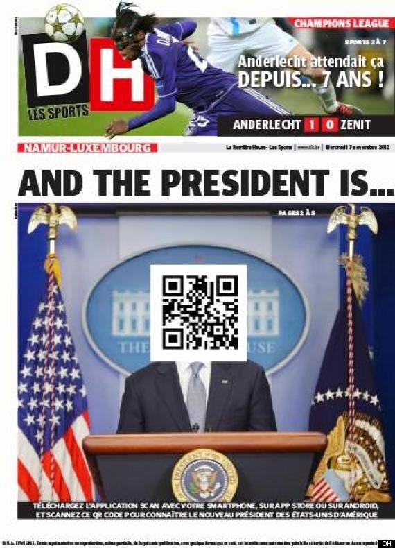 El diario belga 'La Derniére Heure' utiliza un código QR para informar del vencedor de las elecciones en EEUU