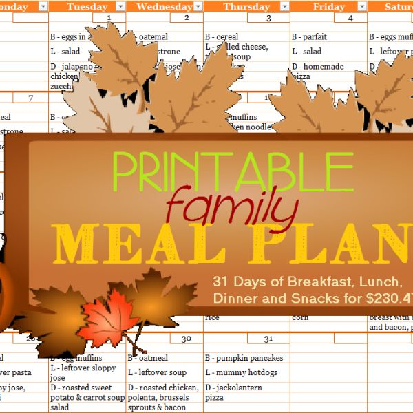 Printable Menu Planner - October 2013 - Week One - Meal