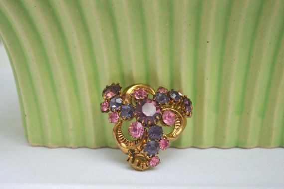 Vintage Austrian Crystal Purple and Pink Mid by talkOfThetown, $32.00