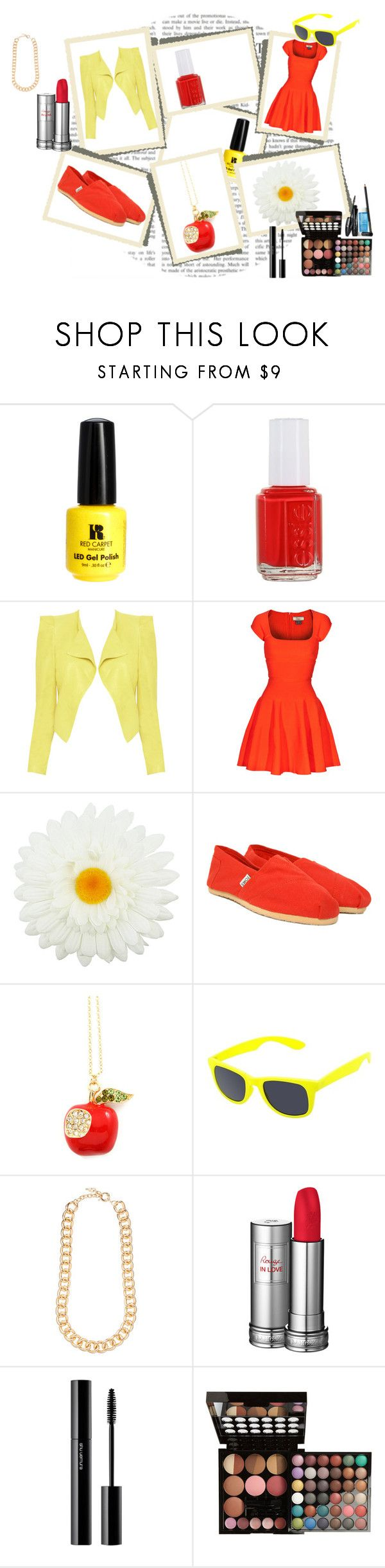 """""""Amity Outfit"""" by lunainthetardis ❤ liked on Polyvore featuring Red Carpet Manicure, Essie, Alice + Olivia, Issa, Topshop, TOMS, Xhilaration, Forever New, Lancôme and shu uemura"""