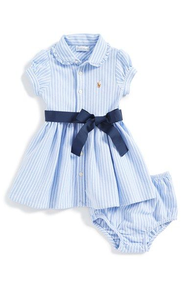 Free shipping and returns on Ralph Lauren Oxford Polo Dress & Bloomers (Baby Girls) at Nordstrom.com. A ruffled polo collar and full-color pony embroidery provide preppy finishing touches for a striped cotton-mesh dress paired with matching bloomers.