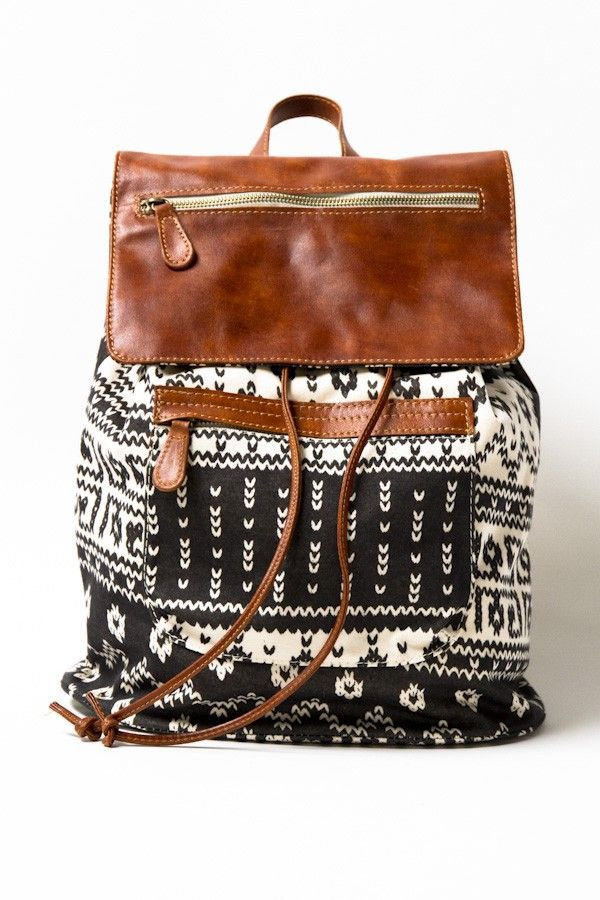 LOVE IT!! - Black, White & Brown Leather Aztec Backpack #EllaBellaBee9