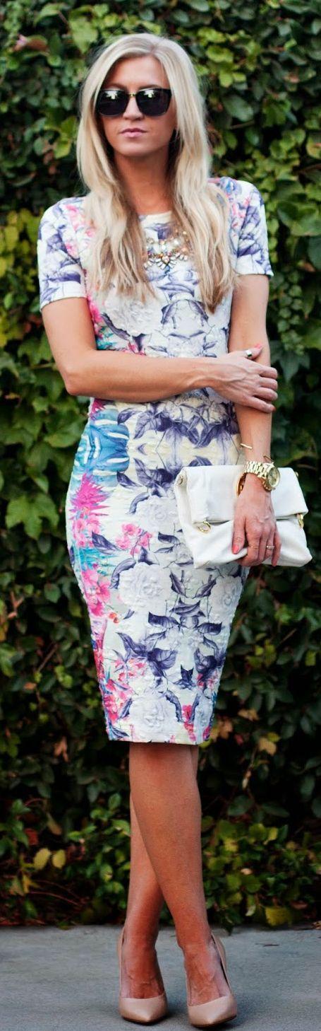 White Multi Structured Floral Body-con Midi Dress by Elle Apparel