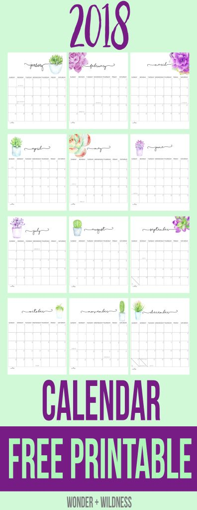 Calendar Bullet Journal 2018 : Free printable calendar bullet journal pinterest