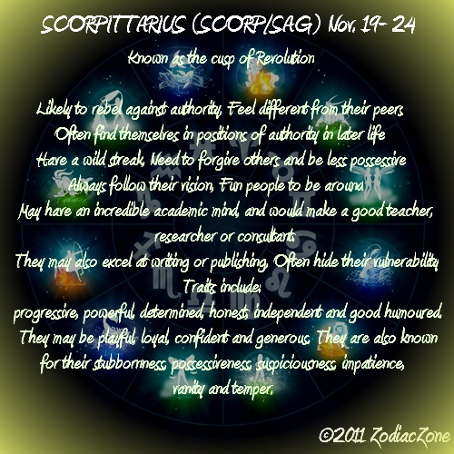 Scorpio Sagittarius cusp... I would be one of them :) explains a LOT