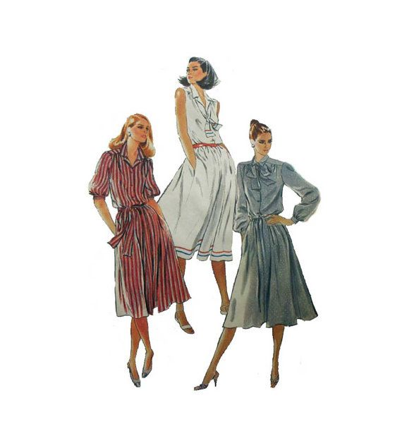 """Women's Shirtdress Sewing Pattern, Sleeveless, Short or Long Sleeves, Plus Size 24 1/2 Bust 47"""" Uncut Vintage Simplicity 5531"""
