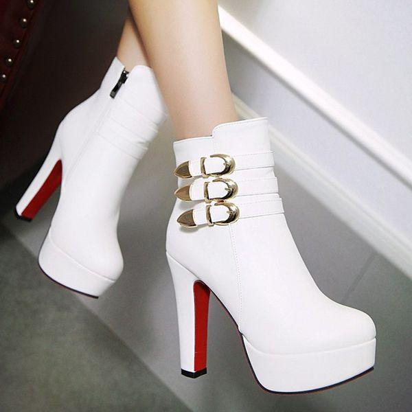 欧美英伦马丁靴粗跟皮带扣高跟短靴新款秋冬季加绒及裸靴女鞋靴子