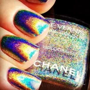 This is the ever elusive Chanel Holographic polish. It's gorgeous, and CRAZY expensive! They released this color in 2007 and never made it again, so its INSANELY hard to find. VERY rarely you can find it on ebay... if you're willing to pay $300-500+ per bottle!