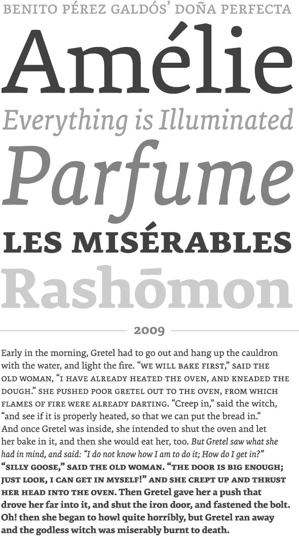 Premiéra is a book typeface specifically designed to work in small sizes. It is available in 3 weights: the 'Book' for main text demands and two styles (Bold and Italic) to create different kind of emphasis. A strong x-height and short ascender/descender make this very legible and elegant typeface very suitable for use in books and newspapers. The idea for Premiéra comes from a demand on developing a typeface that works very well in small prints.
