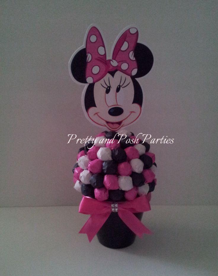Minnie mouse lollipop table centerpiece hot pink black