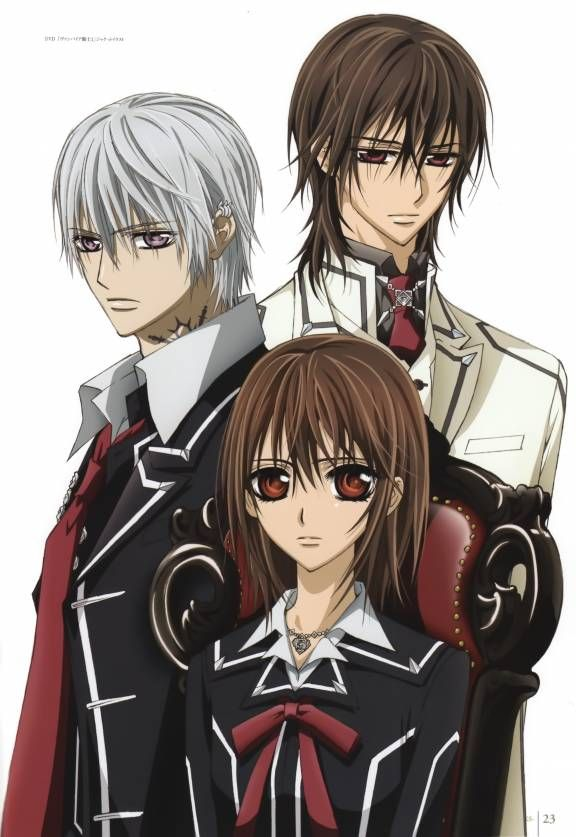 Zero, Yuki, and Kaname from Vampire Knight