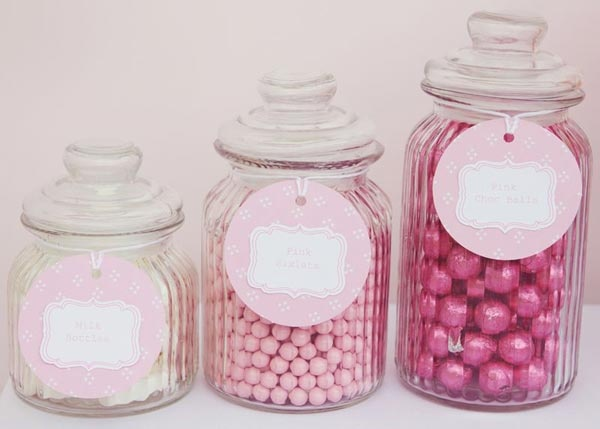 Candy Jars. I like this idea for a wedding favor. Add appropriate sized scoops and a small parchment bag. Guests can scoop their own.