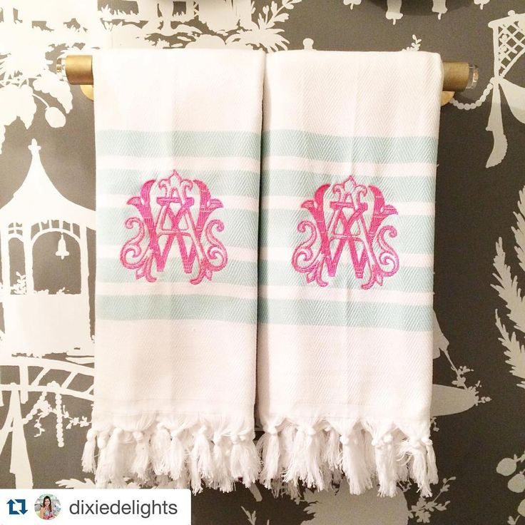 Lovely monogrammed towels | Tablescapes & Home Décor | Pink + Raspberry | Dinnerware | China | Wedding Registry | Ideas | Monogrammed