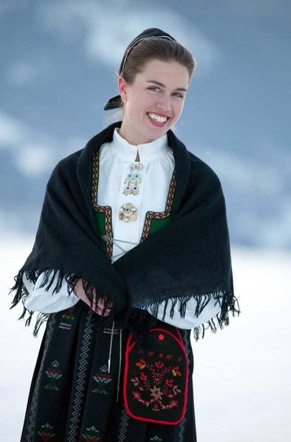 Anne Kristin Moe, director of Norwegian Institute of Folk Costumes. Nordfjordbunad