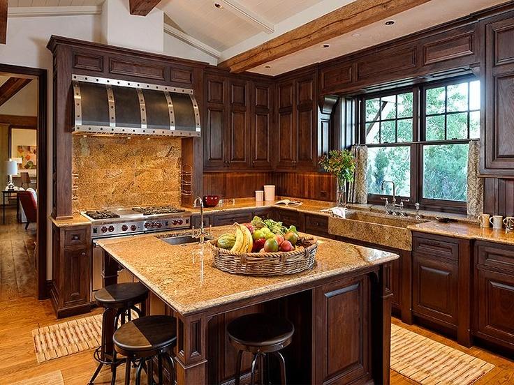 Custom Range Hood Rustic Kitchen Dark Cabinets Luxury