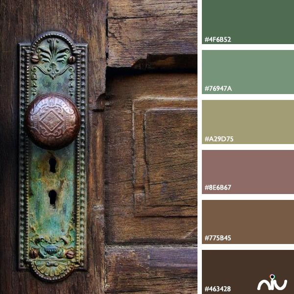 Green, mint, sage, olive, dusty rose, mauve, brown, chocolate