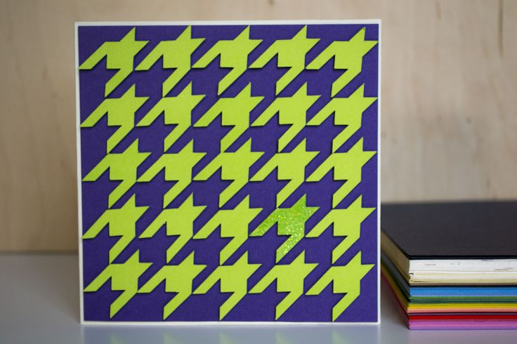 3D Hound Tooth pattern, handmade card by Le Petit Hibou